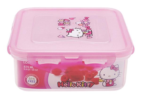 Hop-nhua-dung-thuc-pham-hinh-vuong-Lock&Lock-Hello-Kitty-LKT815-(870ml)
